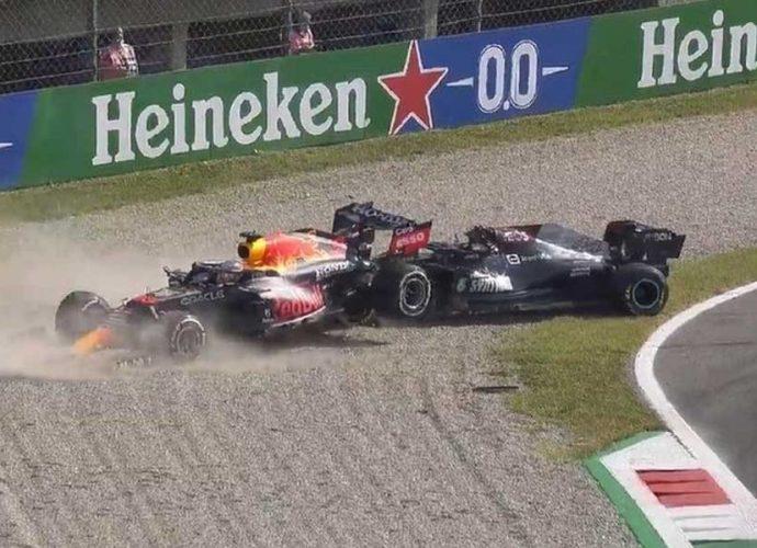 Clamoroso incidente tra Hamilton e Verstappen a Monza
